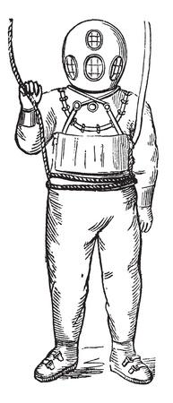 Diver in Surface-supplied Diving Equipment, vintage engraved illustration. Trousset encyclopedia (1886 - 1891).