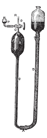 Mercury Displacement Pump by Heinrich Geissler, vintage engraved illustration. Trousset encyclopedia (1886 - 1891).