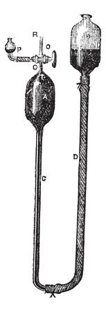 displacement: Mercury Displacement Pump by Heinrich Geissler, vintage engraved illustration. Trousset encyclopedia (1886 - 1891).