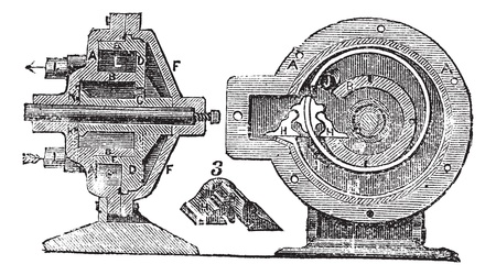 rotary: Rotary Pump, vintage engraved illustration. Trousset encyclopedia (1886 - 1891).