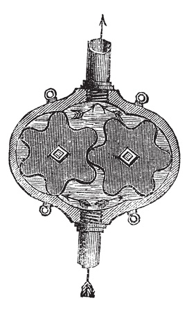 Gear Pump, vintage engraved illustration. Trousset encyclopedia (1886 - 1891).