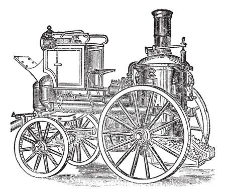 voiture de pompiers: Moteur à incendie à vapeur, millésime gravé illustration. Encyclopédie Trousset (1886-1891).