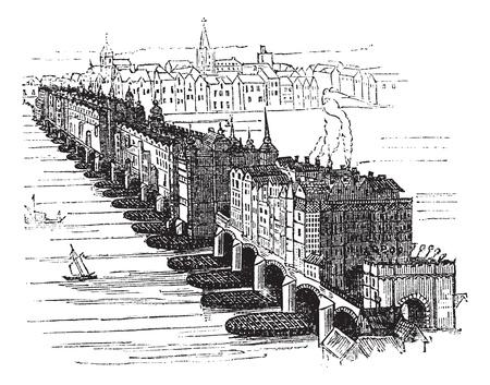 иллюстрация: Средневековый Старый Лондонский мост, в Англии, Великобритании, в 1616 году, старинные гравированные иллюстрации. Trousset энциклопедии (1886 - 1891).