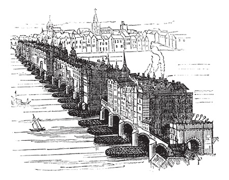 english culture: Old Medieval London Bridge, in England, United Kingdom, in 1616, vintage engraved illustration. Trousset encyclopedia (1886 - 1891).