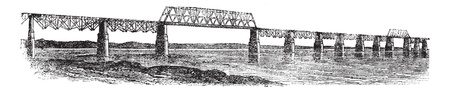 viaduct: Viaduct Bridge at Louisville, Kentucky, Ohio, USA, vintage engraved illustration. Trousset encyclopedia (1886 - 1891).