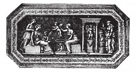 archaeological: Cameo Wedgwood, el grabado de la vendimia. Ilustraci�n del Antiguo grabado de Jos�as cameo Wedgwood aislado en un fondo blanco.