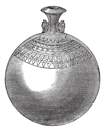 archaeological: Egyptian aryballos, vintage engraving. Old engraved illustration of Egyptian aryballos isolated on a white background.