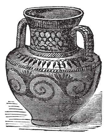 terracotta: Phoenician vase, vintage engraving. Old engraved illustration of Phoenician vase from cesnola collection New York.