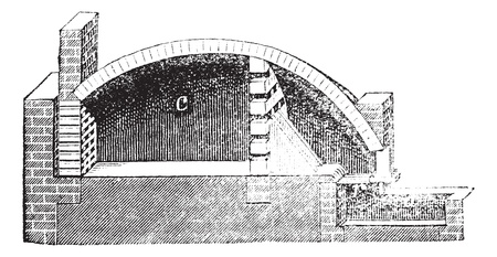 earthenware: Common pottery kiln, vintage engraving. Old engraved illustration of Common pottery kiln.