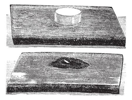 effet: L'effet produit par l'explosion de coton-poudre, de la gravure de cru. Vieux illustration grav�e de l'effet produit par l'explosion de coton-poudre.