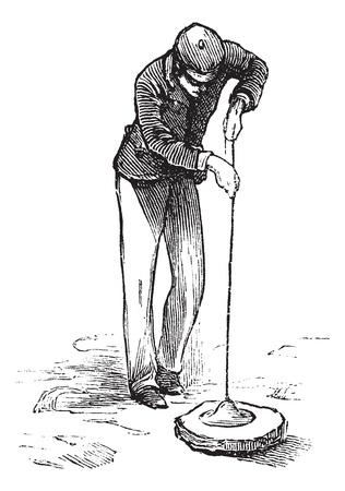 Vacuum cleaner or Vacuum, vintage engraving. Old engraved illustration of man using a vacuum cleaner.