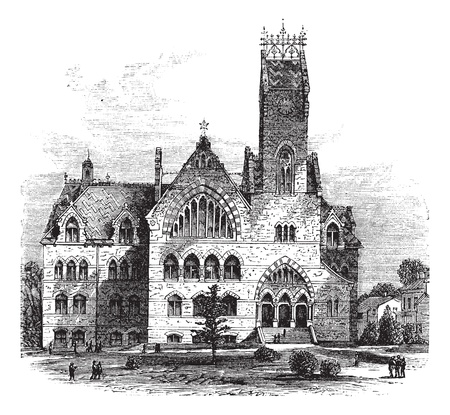 building sketch: John C. Green School of Science at Princeton University in Princeton, New Jersey, United States, during the 1890s, vintage engraving. Old engraved illustration of John C. Green School of Science from front.