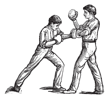 pugilism: Two boxers fighting, vintage engraving. Old engraved illustration of two boxers fighting and one is showing how to stroke left fist on the chest. Illustration
