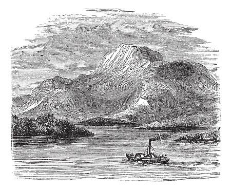 ローモンド湖ハイランド境界断層、スコットランド、1890 年代の間にヴィンテージの彫刻。古い船を前面に移動すると図はローモンド湖の刻まれてい  イラスト・ベクター素材