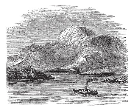 Loch Lomond on Highland Boundary Fault, Scotland, during the 1890s, vintage engraving. Old engraved illustration of Loch Lomond with moving ship in front. Vector