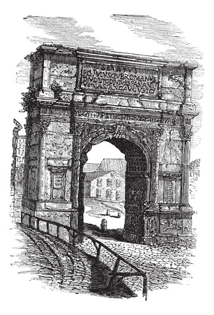 Arch of Titus on Via Sacra, Rome, Italy, during the 1890s, vintage engraving. Old engraved illustration of Arch of Titus.