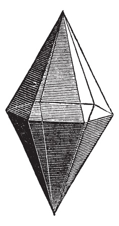 gemological: Ruby crystal, vintage engraving. Old engraved illustration of Ruby crystal isolated on a white background.