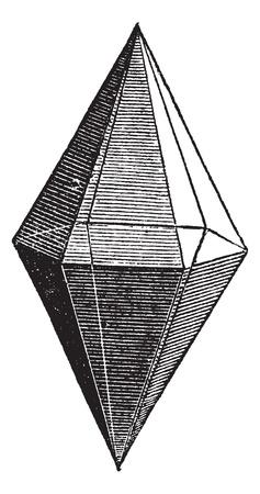 Ruby kristal, vintage graveren. Oude gegraveerde illustratie van Ruby kristallen die op een witte achtergrond.
