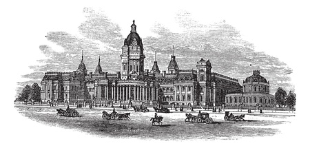 neoclassical: San Francisco City Hall in America, during the 1890s, vintage engraving. Old engraved illustration of San Francisco City Hall with moving carts in front. Illustration