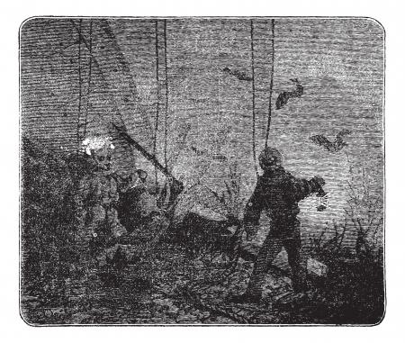 hooka: Surface supplied diving or Hooka diving, vintage engraved illustration. Trousset encyclopedia (1886 - 1891). Illustration