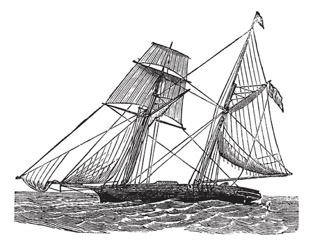 Schooner, vintage engraved illustration. Schooner sailboat at sea. Trousset encyclopedia (1886 - 1891).  Vector