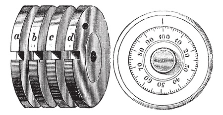 combinations:  Rotary combination lock Safe locking mechanism, vintage engraving. Old engraved illustration of Rotary combination lock Safe locking mechanism with Internal mechanism (fig 10) and Outside of a Rotary combination lock (fig 11), isolated on a white backgro