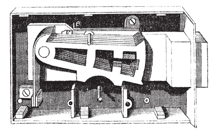 The inside mechanism of Door lock, vintage engraving. Old engraved illustration of the inside mechanism of Door lock isolated on a white background.