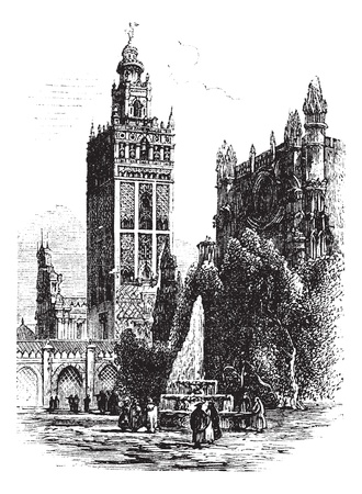 Giralda in Seville, Spain, during the 1890s, vintage engraving.  Old engraved illustration of Giralda with Cathedral of Seville. Vector