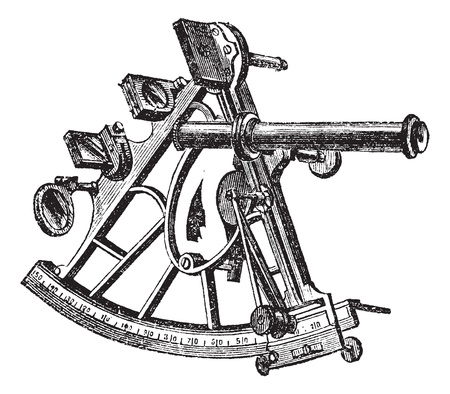 navigational: Sextant, vintage engraving. Old engraved illustration of Sextant isolated on a white background.