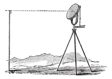 signalling device: Heliograph, vintage engraving. Old engraved illustration of Heliograph in the meadow. Illustration