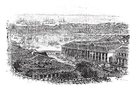 Singapore of Republiek Singapore, tijdens de jaren 1890, vintage graveren. Oude gegraveerde illustratie van Singapore met de rivier tussen en weer terug.