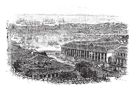 old boat: Singapore or Republic of Singapore, during the 1890s, vintage engraving. Old engraved illustration of Singapore with river in between and back.