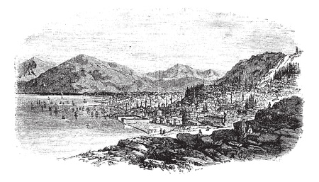 Smyrna in Turkey, during the 1890s, vintage engraving. Old engraved illustration of Smyrna with sea. Stock Vector - 13772180