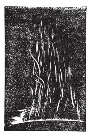 정오: 1871년 9월 7일, 빈티지 조각 정오 1 시간 후에 태양 홍염의 전망. 오래 태양 굴지의보기의 그림을 새겨 져있다.