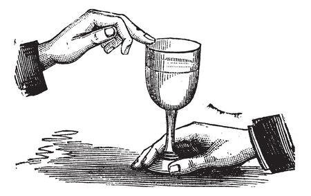how: �C�mo se produce la resonancia del sonido con un dedo mojado en un vaso de vino, el grabado de la vendimia. Ilustraci�n del Antiguo grabado de c�mo producir la resonancia del sonido con un dedo mojado sobre una copa de vino. Vectores