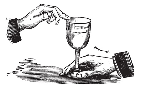 How to produce sound resonance with a wet finger on a wine glass, vintage engraving. Old engraved illustration of How to produce sound resonance with a wet finger on a wine glass.