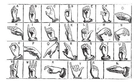 マニュアル: 片手でマニュアル アルファベット、ヴィンテージの彫刻。旧図は耳が聞こえなく、物の言えないの片手の指文字の刻まれています。