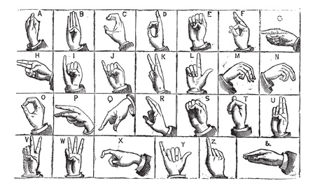 hand sign: One-handed manual alphabets, vintage engraving. Old engraved illustration of One-handed  manual alphabets of Deaf and Dumb.