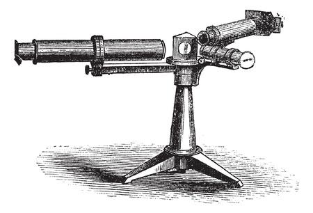 spectroscopy: Spectroscope or Spectrometer or Spectrophotometer or Spectrograph, vintage engraving. Old engraved illustration of Spectroscope.