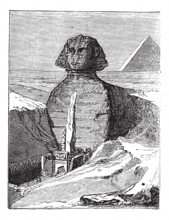 Great Sphinx of Giza in Giza, Egypt, during the 1890s, vintage engraving. Old engraved illustration of Great Sphinx of Giza.