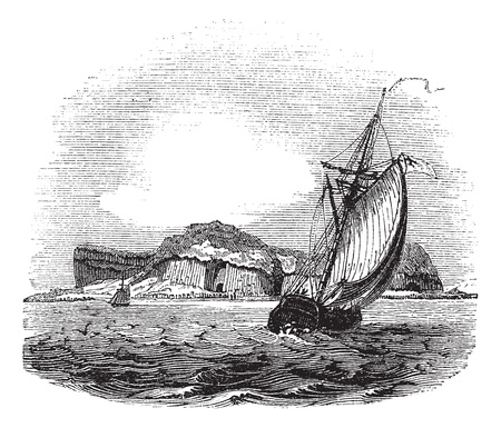 Staffa in Argyll and Bute, Scotland, during the 1890s, vintage engraving. Old engraved illustration of Staffa with running ships in front and island in back. Vector
