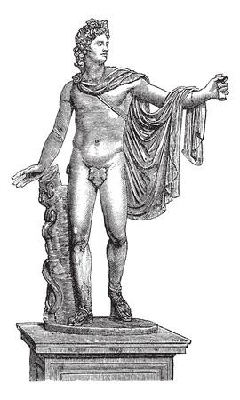 apollo: Apollo Belvedere or Apollo of the Belvedere or Pythian Apollo in Vatican City, vintage engraving. Old engraved illustration of the statue of Apollo Belvedere. Illustration