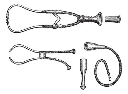 auscultation: Stethoscopes, vintage engraving. Old engraved illustration of three types of Stethoscopes isolated on a white background.