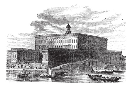 Stockholm Palace in Stadsholmen, Sweden, during the 1890s, vintage engraving. Old engraved illustration of Stockholm Palace with running boats in front.  イラスト・ベクター素材