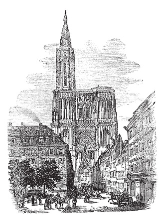 french culture: Strasbourg Cathedral or Cathedral of Our Lady of Strasbourg in Strasbourg, France, during the 1890s, vintage engraving. Old engraved illustration of Strasbourg Cathedral with people in front.