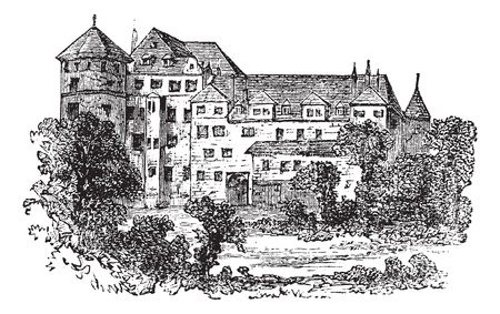 stuttgart: Stuttgart, the former palace, vintage engraved illustration. Trousset encyclopedia (1886 - 1891).