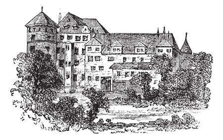 former: Stuttgart, the former palace, vintage engraved illustration. Trousset encyclopedia (1886 - 1891).
