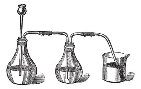 sulfide: sulfhydryl acid apparels, vintage engraved illustration. Trousset encyclopedia (1886 - 1891).