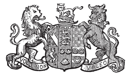 crests: Volo Non Valeo a family motto assigned by King Charles II, vintage engraved illustration. Trousset encyclopedia (1886 - 1891).
