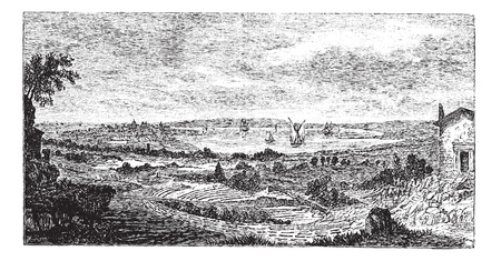 archaeological: Syracuse. - Ruinas del teatro a la vanguardia, vintage grabado illustration.Trousset enciclopedia (1886 - 1891).